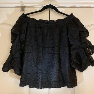 Lace Off-Shoulder Blouse with Puff Sleeves from M